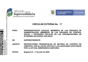 CIRCULAR EXTERNA No. 17 Supersolidaria Julio 17 2020