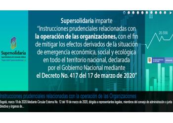 Circular Externa No. 12del 19 de marzo de 2020, con las instrucciones impartidas por la Supersolidaria