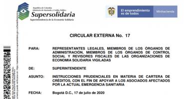 CIRCULAR EXTERNA No. 17 Supersolidaria Julio 17 2020